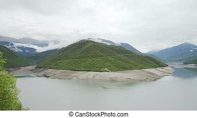 Zhinvali water reservoir on river Aragvi, Georgia
