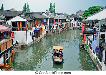 Zhujiajiao Town in Shanghai - Shanghai Zhujiajiao town with...