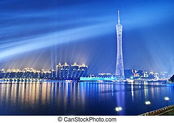 Zhujiang River and modern building of financial district at night in guangzhou china