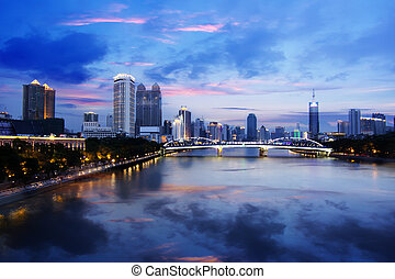 Zhujiang River and modern building of financial district in guangzhou china