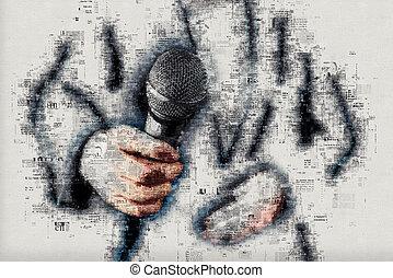 zich het gedragen, reporter, journalist, vrouwlijk, interview, nieuws