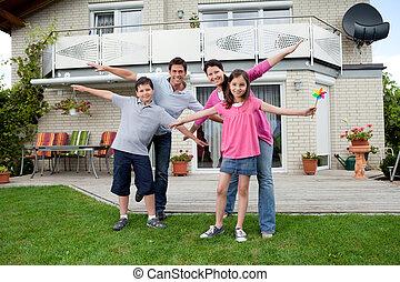 zich, het genieten van, gezin, vrolijke