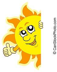 zich het verschuilen, zon, met, handen