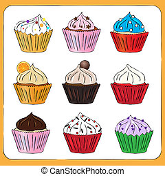 zich verbeelden, sketchy, cupcakes, verzameling