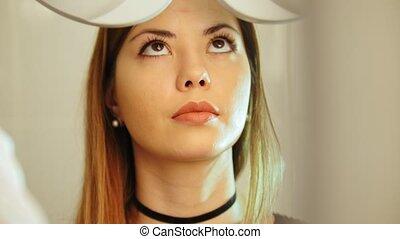 zicht, concept, -, oogheelkunde, vrouwlijk, kliniek,...