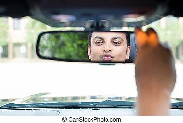 zichzelf, controleren, rearview spiegel, kerel, uit