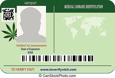 zidentyfikowanie, pacjent, marihuana, karta