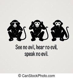 zie geen kwaad, hoor geen kwaad, spreken, nee