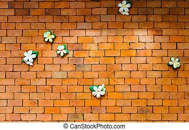 Ziegelmauer, Hintergrund, Mit, Blumen
