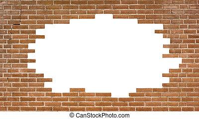 ziegelmauer, mit, a, groß, loch