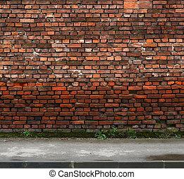 ziegelmauer, mit, bürgersteig