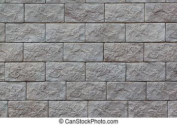 ziegelmauer, mit, groß, graue , bricks., gebraucht, als, a, hintergrund.