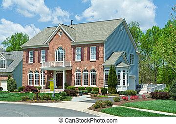ziegelstein haus, usa, vorstädtisch, einzelne familie, daheim, verkauf