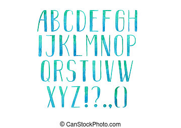 ziehen, abc, briefe, bunte, alphabet, hand, aquarell,...