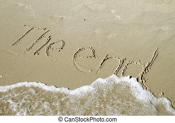 ziehen, ende, sand, schreibende