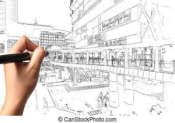 ziehen, geschaeftswelt, hand, visuell, cityscape, mann