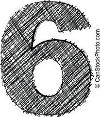 ziehen, hand, zahl, font., 6