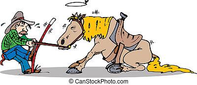 ziehen, start, pferd
