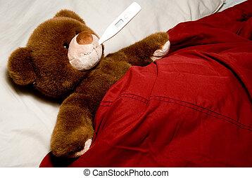 ziek, beer, teddy