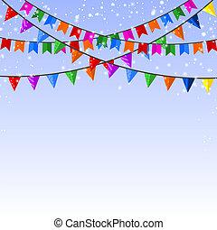 ziek, blauwe , papier, winter, achtergrond, guirlande, flags., vector