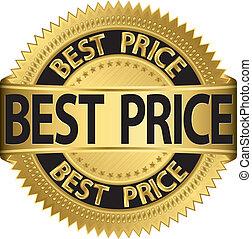 ziek, etiket, best, vector, gouden, prijs