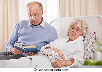 ziek, het boek van de lezing, echtgenoot, vrouw
