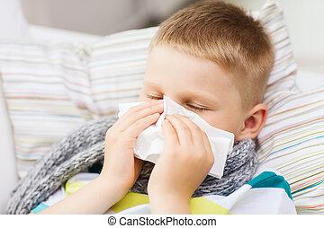 ziek, jongen, met, griep, thuis