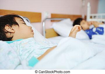 ziek, kind, in, ziekenhuis