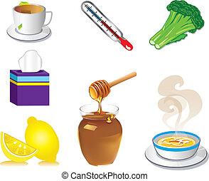 ziek, koude, griep, iconen