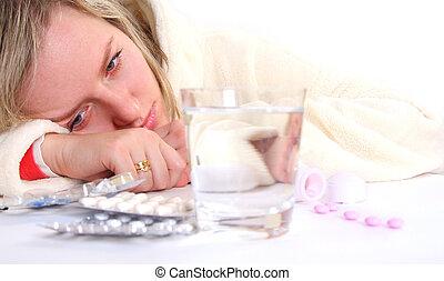 ziek, vrouw, en, pillen
