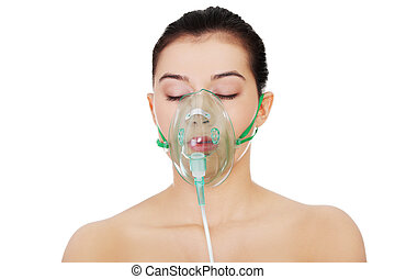 ziek, vrouwlijk, met, een, zuurstofmasker