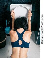 zieke vrouw, in het huis, toilet