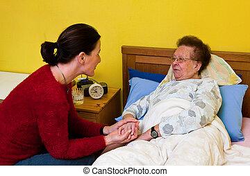 zieke vrouw, oud, visited