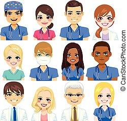 ziekenhuis, avatar, team