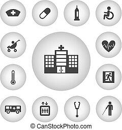ziekenhuis, basis, pictogram