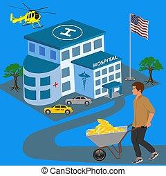 ziekenhuis, bezoeken, illustratie, gezondheidszorg, vector, duur, er