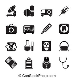 ziekenhuis, en, gezondheidszorg, iconen