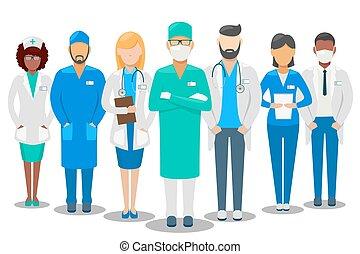 ziekenhuis, illustratie, team., vector, medisch personeel