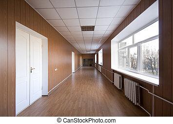 ziekenhuis, lege, gang