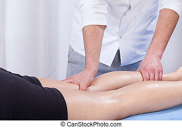ziekenhuis, masseren, been