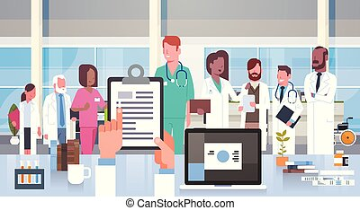 ziekenhuis, medisch team, groep, van, artsen, in, moderne,...