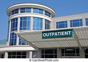 ziekenhuis, meldingsbord, ingang, poliklinische patiënt