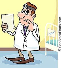 ziekenhuis, spotprent, illustratie, arts