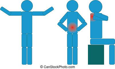 ziekte, 2, figuur, vrijstaand, set, pictogram, deel, vector...