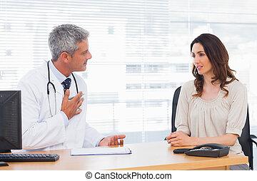 ziekte, haar, over, arts, klesten, patiënt, serieuze