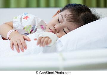 ziekte, kind, in, ziekenhuis, zouthoudend, intravenous,...