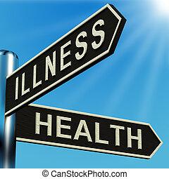 ziekte, of, gezondheid, richtingen, op, een, wegwijzer