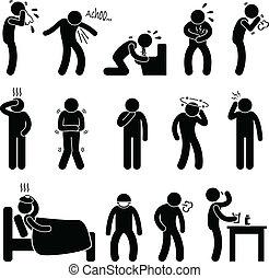 ziekte, ziekte, symptoom, ziekte