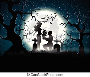 ziel, minnaars, in, de, maanlicht