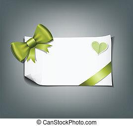 zieleń biała, papier, projektować, wstążka